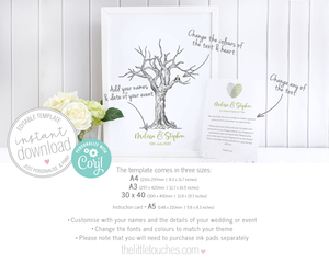 Printable Fingerprint Tree Wedding Guest Book
