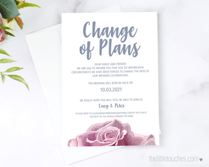 Sketch Rose Printable Change of Plans Card