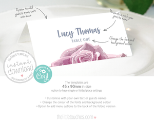 Sketch Rose Printable Place Settings