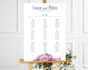 Sketch Rose Printable Wedding Table Plan