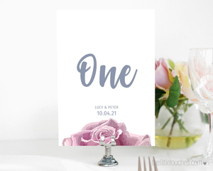 Sketch Rose Printable Table Numbers