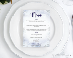 Winter Snowflake Printable Menus