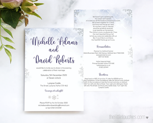 Winter Snowflake Printable Single Wedding Invitation