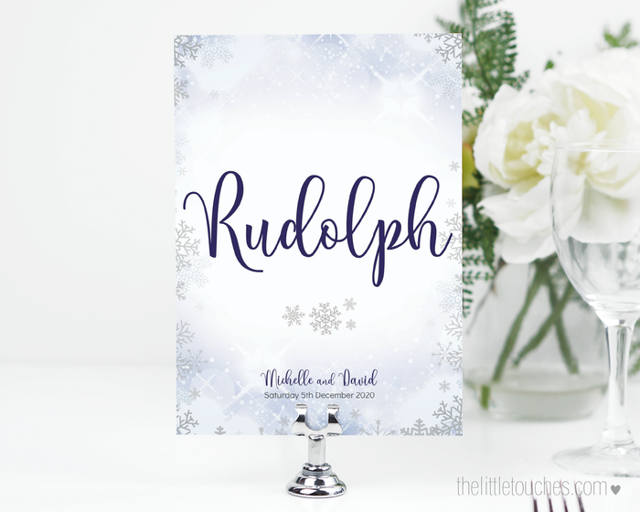 Winter Snowflake Printable Table Numbers
