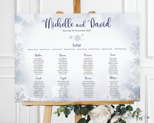 Winter Snowflake Printable Wedding Table Plan