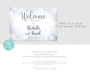 Winter Snowflake Printable Welcome Sign