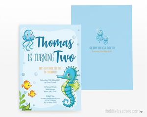 Under the Sea Seahorse Printable Party Invitation