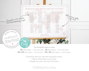 Where in the World Printable Wedding Table Plan