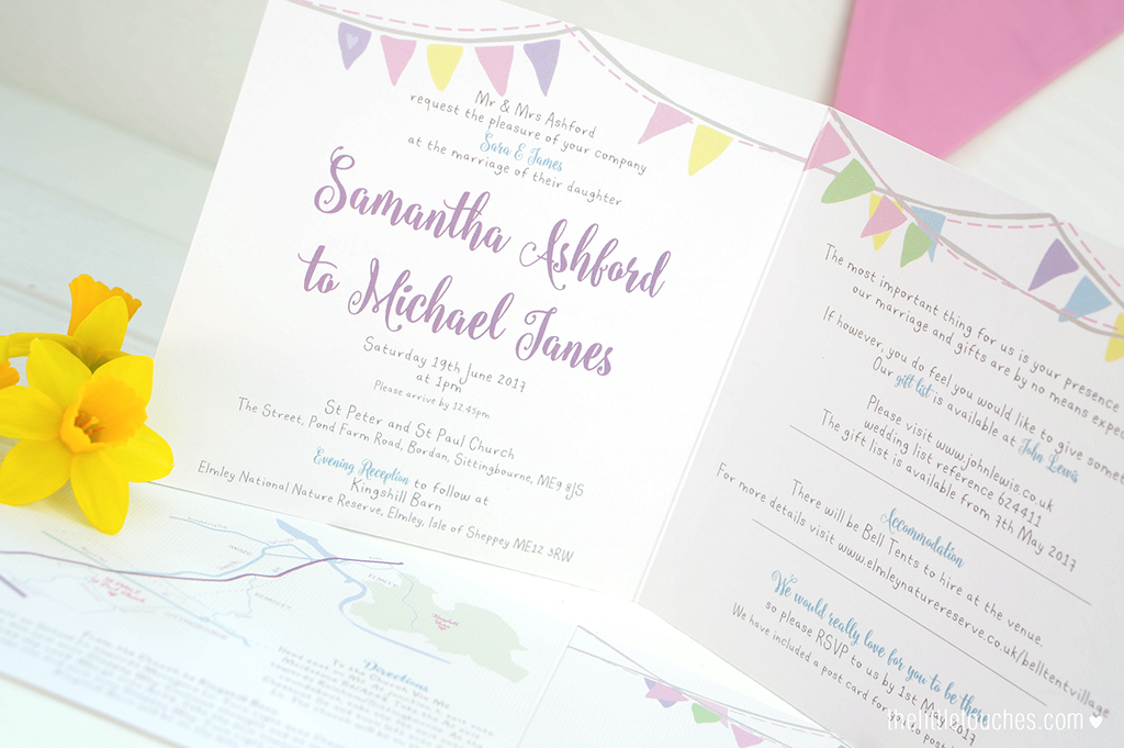 Pastel Bunting Wedding Invitations - The Little Touches