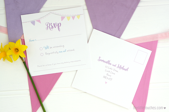 Pastel Bunting Wedding Invitations