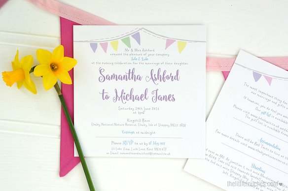 Bunting Evening Wedding Invitations