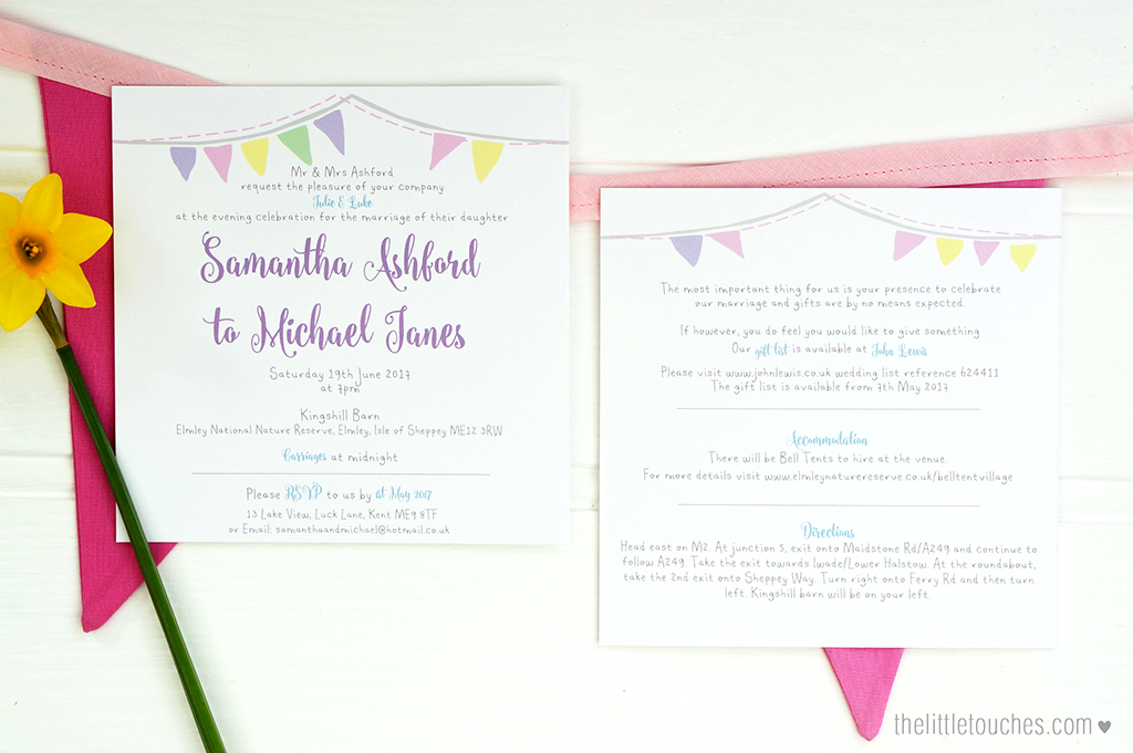 Bunting Evening Wedding Invitations - The Little Touches