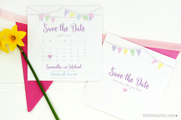 Bunting Calendar Save the Date Cards