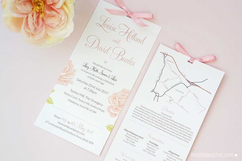 English Rose Evening Wedding Invitations - The Little Touches
