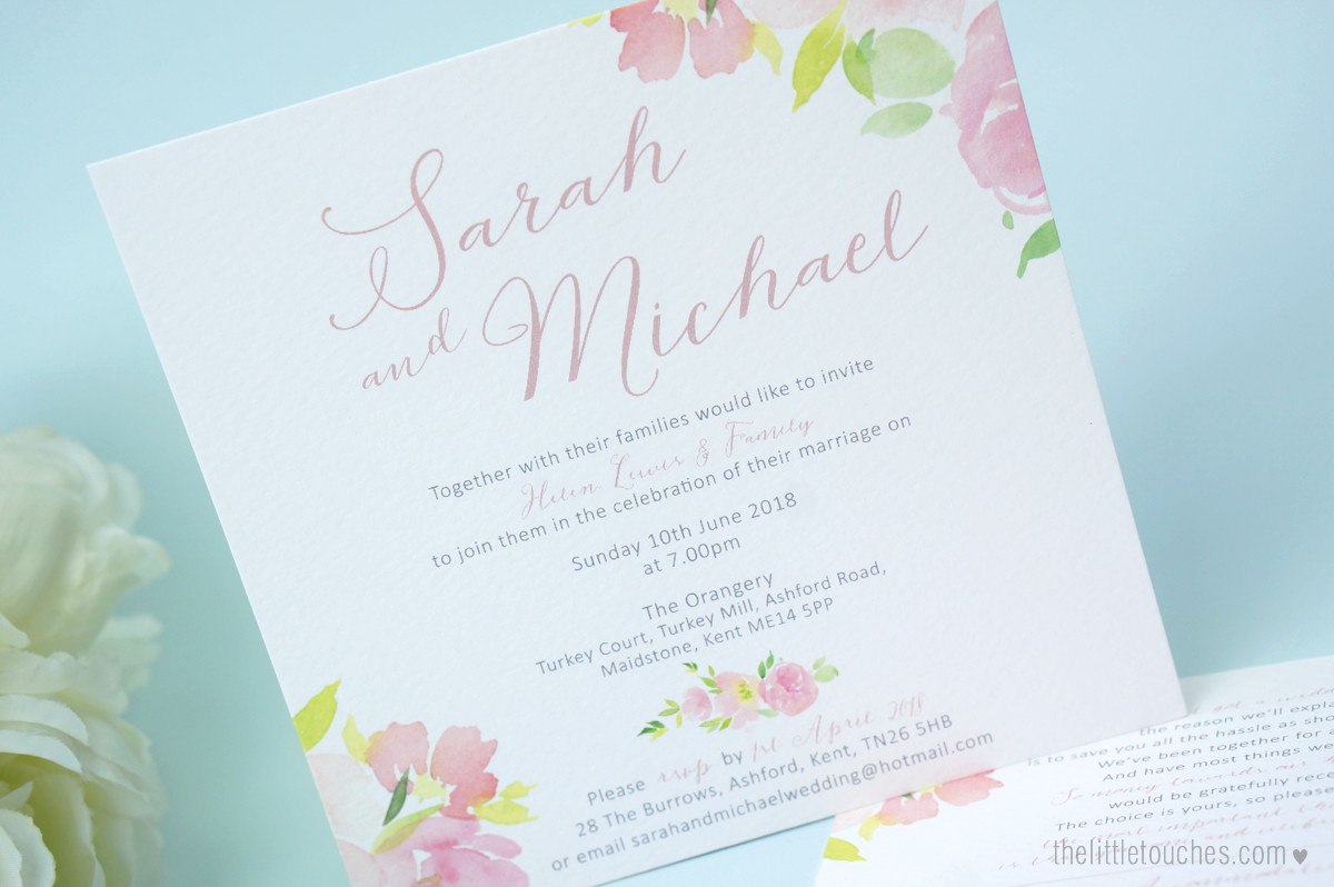 Floral Watercolour Evening Wedding Invitations - The Little Touches