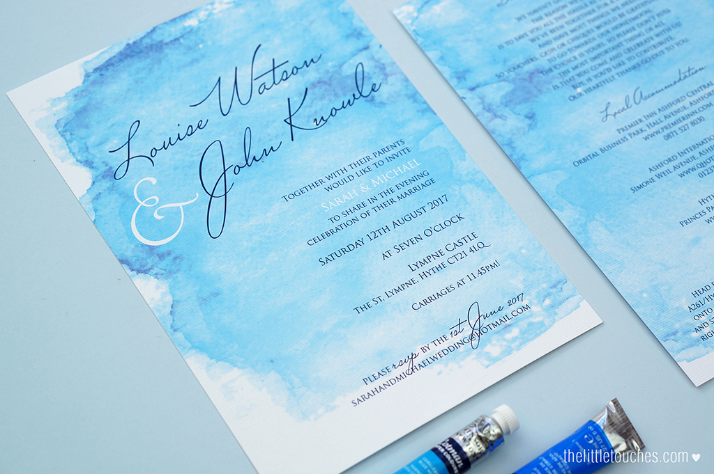 Watercolour Evening Wedding Invitations - The Little Touches