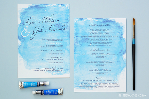 Watercolour Evening Wedding Invitations