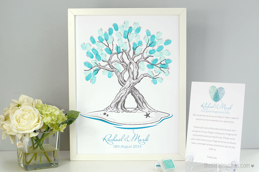 Island / Beach Wedding Guest Fingerprint Tree - The Little Touches