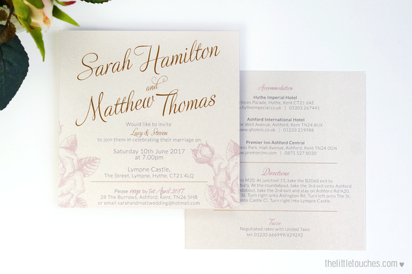 Ivory Rose Evening Wedding Invitations