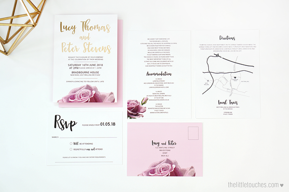 Metallic Rose Wedding Invitations