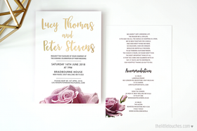 Metallic Rose Evening Wedding Invitations