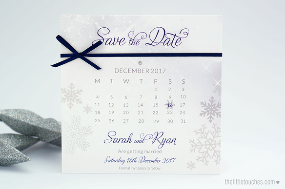 Winter Snowflake Calendar Save the Dates