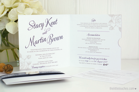 White Rose Invitation with Side Pocket (Plus Optional Wax Seal Strap)