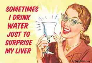 SOMETIMES I DRINK WATER JUST TO SURPRISE MY LIVER - NOVELTY MAGNET