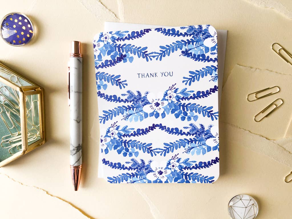 Blue Floral Vines Thank You Card