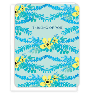Thinking Of You Floral Vine Blank Card