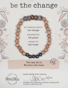 BOTSWANA AGATE BE YOUR OWN HERO BRACELET FOR BE THE CHANGE