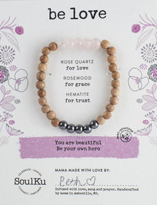 ROSE QUARTZ BE YOUR OWN HERO BRACELET FOR BE LOVE