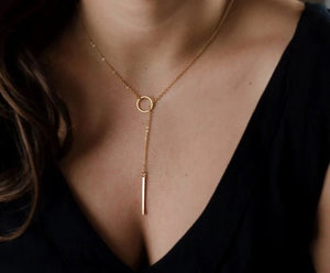 Circle and Bar Lariat Layered Necklace