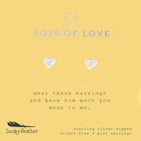 Love You Lots- Silver Heart Earrings