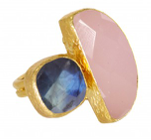 Halfmoon double stone ring