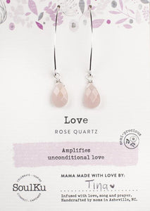 ROSE QUARTZ SOUL-FULL OF LIGHT LONG EARRINGS FOR LOVE