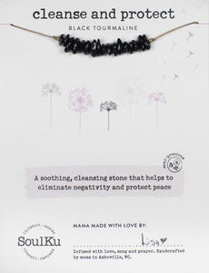 BLACK TOURMALINE SEED NECKLACE FOR CLEANSE & PROTECT