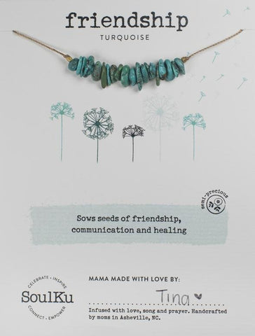 TURQUOISE GEMSTONE SEED NECKLACE FOR FRIENDSHIP