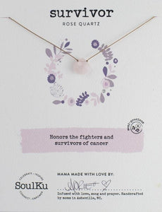 ROSE QUARTZ GEMSTONE SOUL-FULL OF LIGHT NECKLACE FOR CANCER SURVIVORS