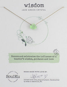JADE GREEN CRYSTAL SOUL SHINE NECKLACE FOR WISDOM