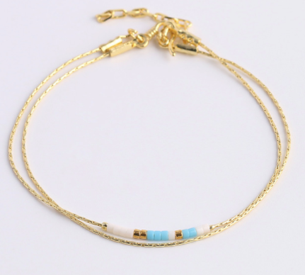 Gold Delicate Beaded Bracelet 2-layers