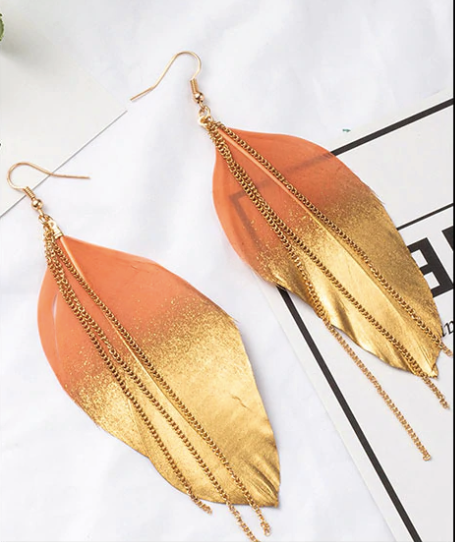 Feather color earrings