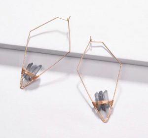 Geometric rhombic Copper Wire Hoop Earring With Natural Quartz Stone