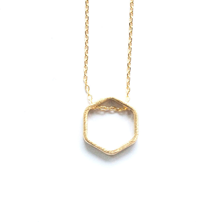 Simple Gold Hexagon Necklace