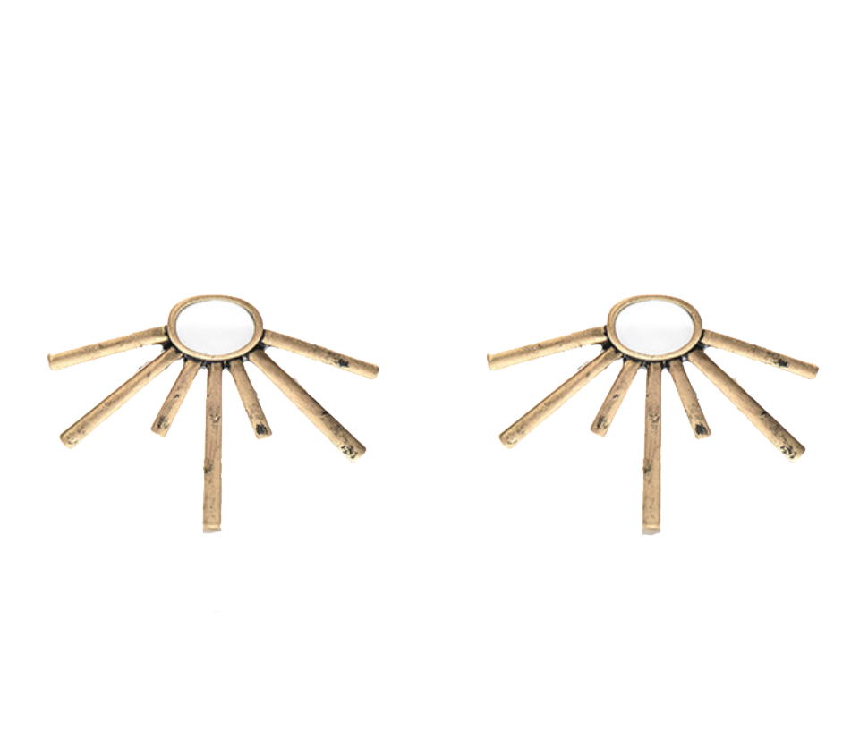 Sun Ray Brass Earrings