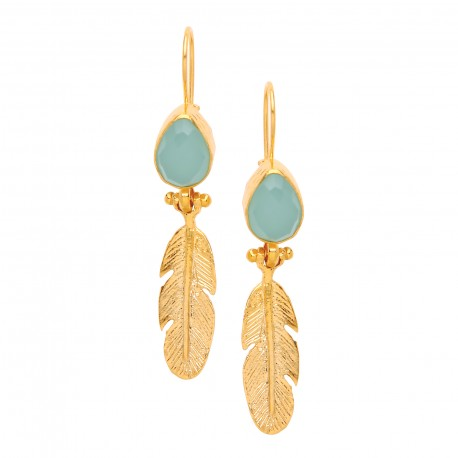 Stone and Feather Earring