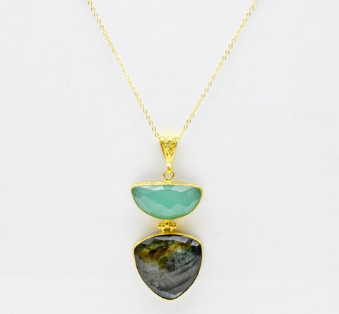 Labradorite and Aqua Chalcedony Necklace
