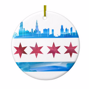 Chicago Flag Skyline Ornament - One Strange Bird