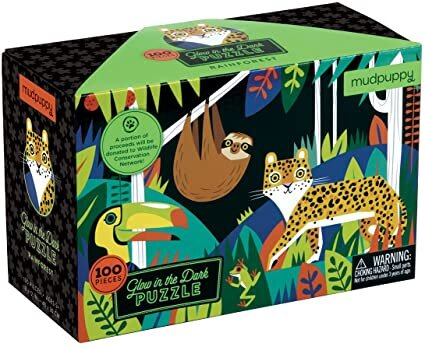 "Mudpuppy Rainforest Glow-in-The-Dark Puzzle, 100 Pieces, 18""x12"" –Perfect for Kids Age 5+"