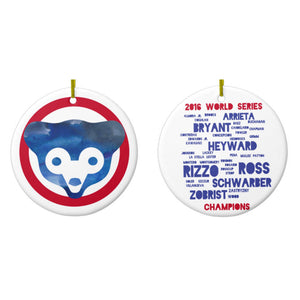 Double Sided Chicago Cubs World Series Ornament - One Strange Bird